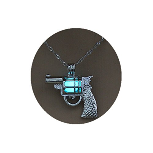 Luminous Pistol Necklaces Hollow Silver Color Pendant Glow in The Dark Necklace Jewelry Women (Light Blue)