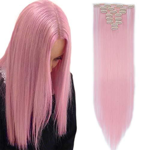 Clip in Extensions Haarverlängerung Haarteil 8 Tresssen wie Echthaar glatt Hell-Pink 26