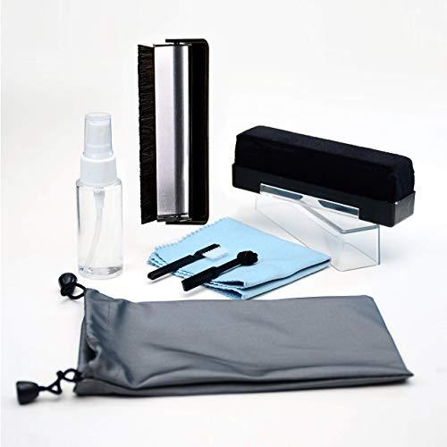 Audiophile Vinyl Record Cleaning Brush Kit - Premium LP Maintenance Set by Record-Happy. Velvet, Anti-Static Carbon Fiber Brush Microfiber Cloth and Stylus Cleaner