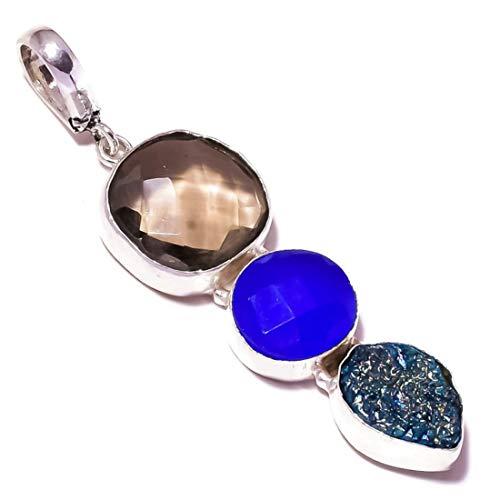 Jewels House Colgante de ónix azul, cuarzo ahumado, piedra de titanio drusa, chapado en plata, hecho a mano, triple piedra