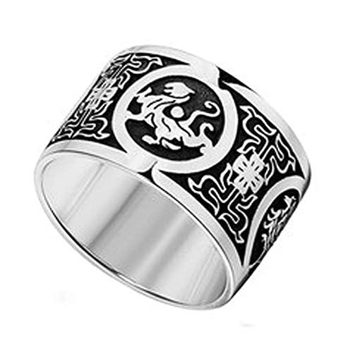 RXSHOUSH Anillos para hombre de plata 925 Anillo de joyería Ins Boyfriend Son Lucky Rings, 15#