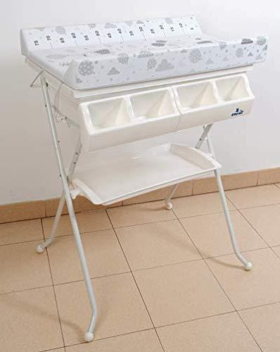 Bañera bidet para bebé, gris ratoncitos, con cambiador,cubeta y cestilla. DE REGALO TIJERAS,ESPONJA Y TERMOMETRO DE BAÑO