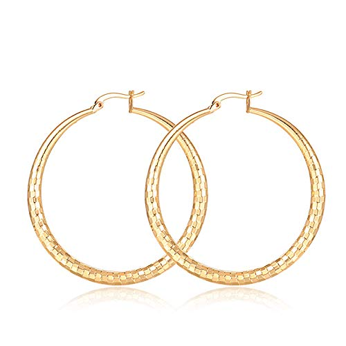 Fashion Ear Jewelry For Girls Women,Fashion Women Matte Big Hoop Earrings Piercing Round Statement Party Jewelry - Golden