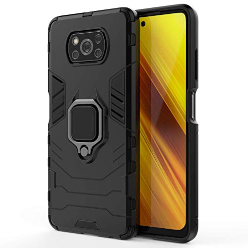 VGANA Funda y Xiaomi Poco X3 NFC/Xiaomi Poco X3 Pro, Soporte Magnético Anillo Metálico Soporte Mezcla de Doble Capa Híbrida la Protección A Prueba de Rayones Carcasa. Negro