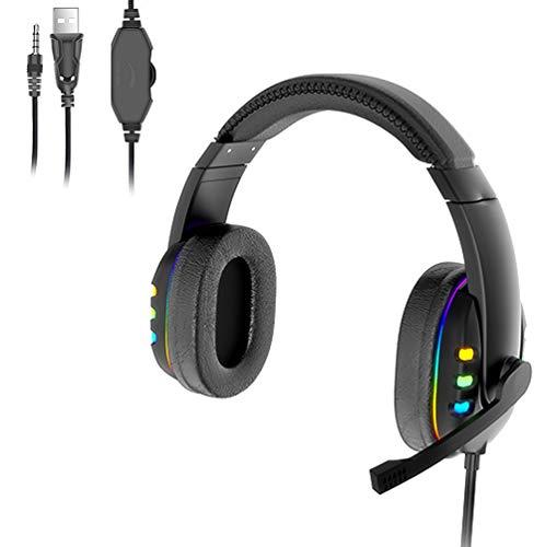 Gaming PS4,Cascos Gaming de Mac Estéreo con Micrófono Cascos Gaming 3.5mm Jack con Luz LED Bass Surround y Cancelación de Ruido Auriculares Compatible con PC/Xbox One/Switch