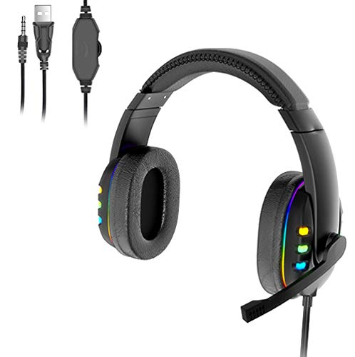 PC Auriculares, Gaming PS4,Cascos Gaming de Mac Estéreo con Micrófono Cascos Gaming 3.5mm Jack con Luz LED Bass Surround y Cancelación de Ruido Auriculares Compatible con PC/Xbox One/Switch