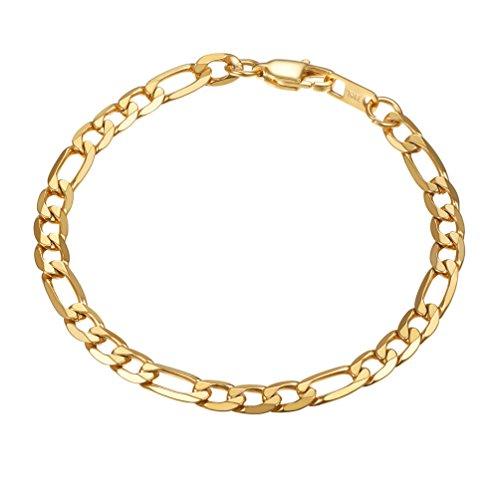 PROSTEEL Herren Armband 6mm glänzend Edelstahl Figarokette Armband 3+1 Gold Glieder Link Kettenarmband Armkette Armreif, Länge 19cm