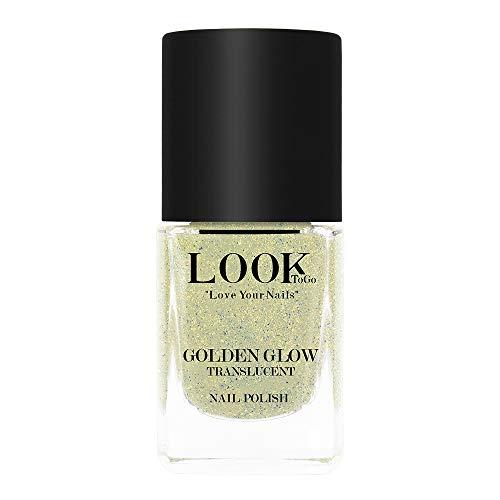 Look to go Nagellack NP 085 Golden Glow - translucent 12ml I Glow-Effekt für die Nägel I Halbtransparenter Effekt-Lack mit lichtreflektierenden, goldenen Pigmenten I vegan & 13-free I Made in Germany
