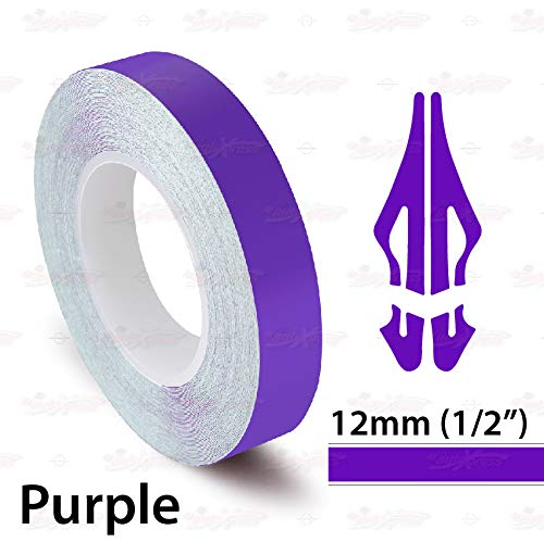AutoXpress   1/2' 12mm Purple Roll Pinstriping Styling Trim Coachline Pin Stripe Self Adhesive Line Car Motorcycle Truck Bike Model Vinyl Tape Decal Stickers   32 ft 9.80m