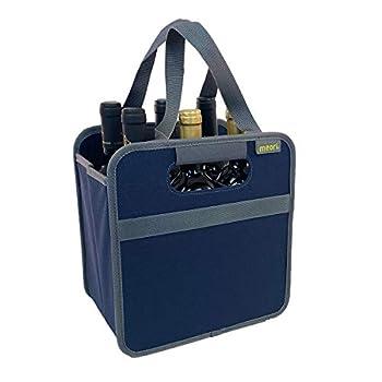 meori Foldable 6 Bottle Wine Tote Marine Blue Organize Crate Glass Dividers Stylish Travel Storage Box Liquor Spirits Tastings Grocery Shopping Hostess Gift  A100616