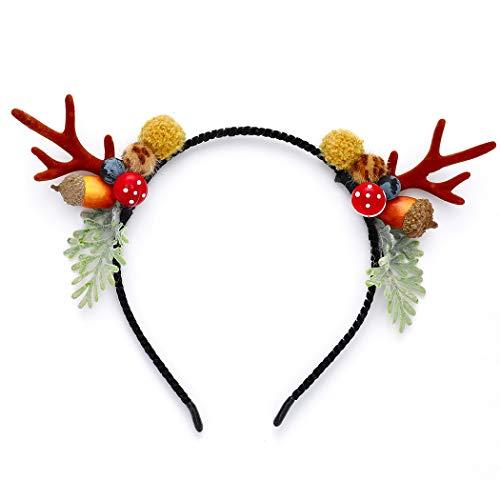 Unicra Serre-tête de Noël avec fleurs et bois de cerf, cornes d'animaux, accessoire pour cheveux pour femmes et filles (B)
