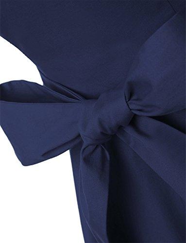 Dressystar Damen Vintage 50er Cap Sleeves Dot Einfarbig Rockabilly Swing Kleider M Marineblau - 5