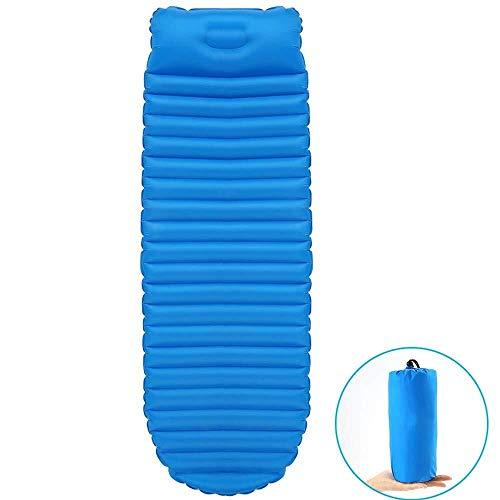 Matelas de Sol Gonflable de Camping lit épais Tapis for Dormir avec Le Haut-Pad résistant à l'humidité Coussin Oreiller Tapis de Plage, Couleur: Bleu (Color : Blue)