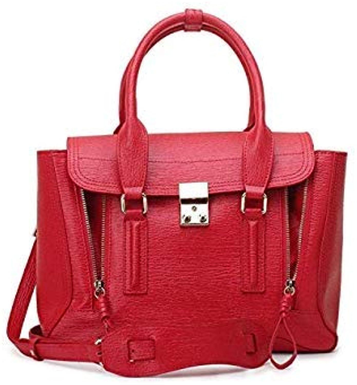 Bloomerang MZorange Genuine Leather Bag Pashli Satchel with Strap Fluorescent Medium Monster Bag Cute Shoulder Bag aslant Leather Handbag color Red