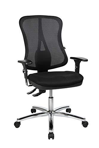Topstar Head Point, ergonomischer Bürostuhl, Schreibtischstuhl, Muldensitz, inkl. Armlehnen, Netzrücken, Stoffbezug schwarz