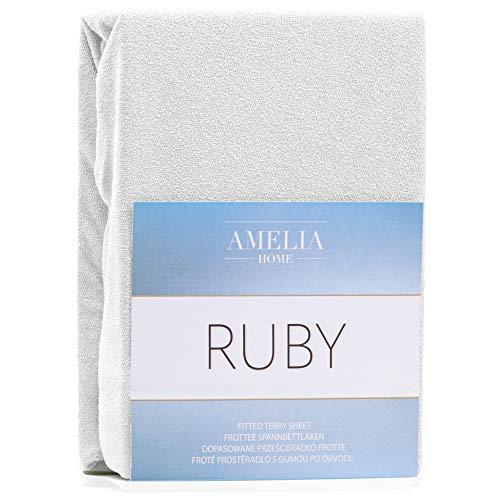 AmeliaHome Spannbettlaken 140x200-160x200 cm Frottee Baumwolle Spannbetttuch, weiß