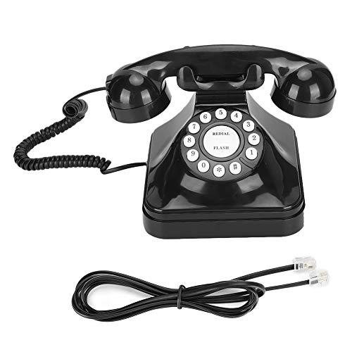 VBESTLIFE Telefono Antico Oggettistica per la casa, Telefono Fisso Vintage con Filo Telefono Classico Europeo retrò Telefono Multifunzionale in plastica Nera Telefono Fisso con ricomposizione Flash