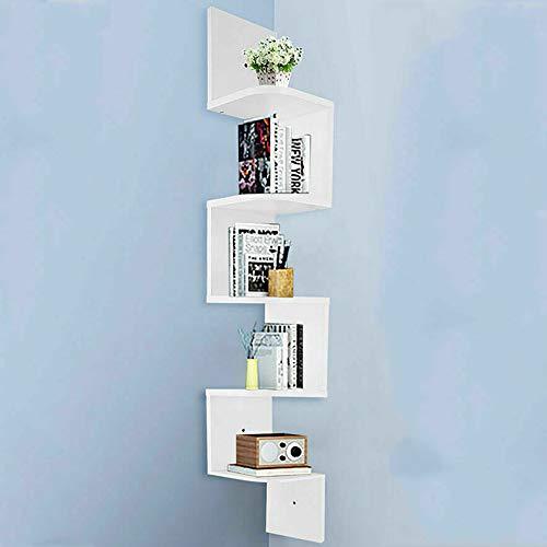 iropro Floating Wall Shelves Corner Shelf Storage Display Bookcase Bedroom, Living Room, Bathroom Wall Mount floating corner shelves (White, 5 tiers)
