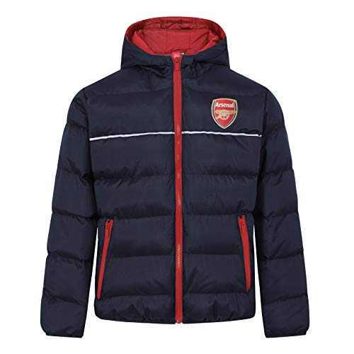 Arsenal FC - Plumífero Acolchado Oficial con Capucha - para niño - Azul Marino - 10-11 años