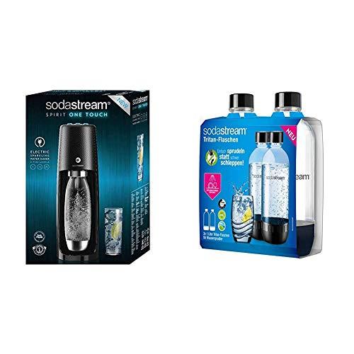 Sodastream One Touch, Gasatore d'Acqua Frizzante, Automatico, Nero & 2 Bottiglie per gasatore d'Acqua, Universali, Lavabili in Lavastoviglie