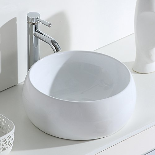 Eridanus, Serie Luciano, Waschschale, Keramik Aufsatz Waschbecken, Rund Waschschüssel, 40 cm breit