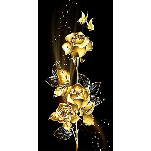 DIY 5D Diamond Painting Kits Large Flor dorada DIY Pintura de Diamante Kit Completo Taladro Cristal Rhinestone Diamante Art Bordado Punto de Cruz Art Craft Home Salón Decor de Pared 40x80cm H6966