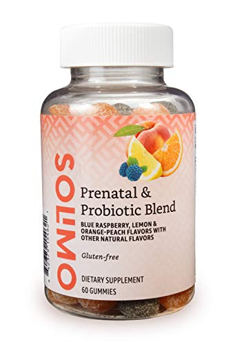 Amazon Brand - Solimo Prenatal & Probiotic Blend - Pregnancy Wellness - 70mg Omega 3 Fatty Acids with 20mg Probiotics, 60 Gummies, 1 Month Supply