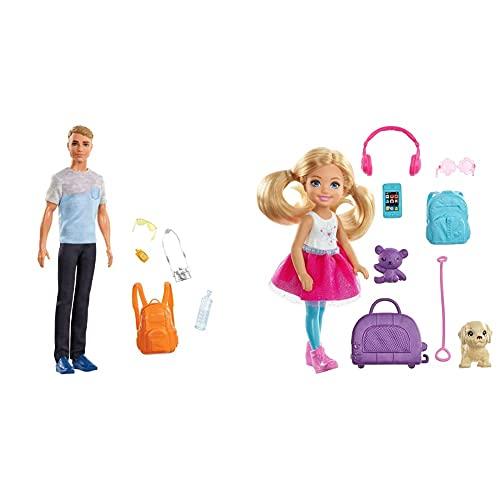 Barbie Vamos De Viaje, Muñeco Ken con Accesorios, Regalo para Niñas Y Niños 3-9 Años + Chelsea Vamos De Viaje con Perrito, Muñeca con Accesorios, Regalo para Niñas Y Niños 3-9 Años (Mattel Fwv20)