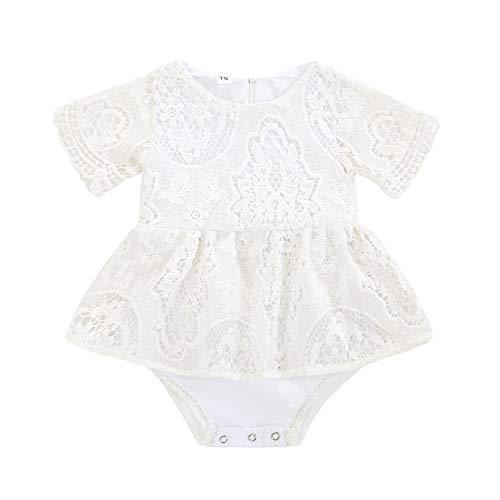 MAHUAOYIXI Conjunto de body para bebé recién nacido y mujer, de encaje, bordado, manga corta, cuello redondo, transpirable, conjunto de ropa para niños Blanco 0-3 meses