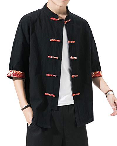 Fotang Hombres Vintage Estilo Chino Camisa Cardigan Chaqueta Tradicional KUNGFU Tops