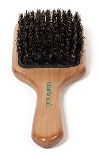 GranNaturals Boar Bristle Hair Brush for Women and Men - Medium Soft Bristles - Natural Wooden Large Flat Square Paddle Hairbrush - For Fine, Thin, Straight, Long, or Short Hair