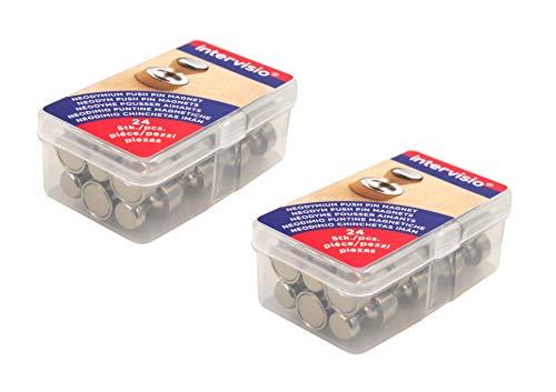 48 Stück Neodym Magnete für Pinnwand Whiteboard Magnettafel | Sehr starker Push Pin N35 Kegelmagnete Set | NICHT für Glasmagnetboards bzw. Glasmagnettafeln geeignet! intervisio