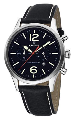 KRONOS - Pilot Chronograph Black 797.55 - Reloj de Caballero de Cuarzo, Correa de Piel Negra, Color Esfera: Negra
