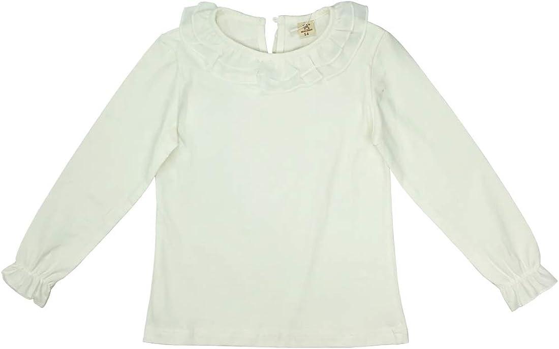 Toddler Baby Girl White Long Sleeve Plain Tee Shirts Tops Uniform