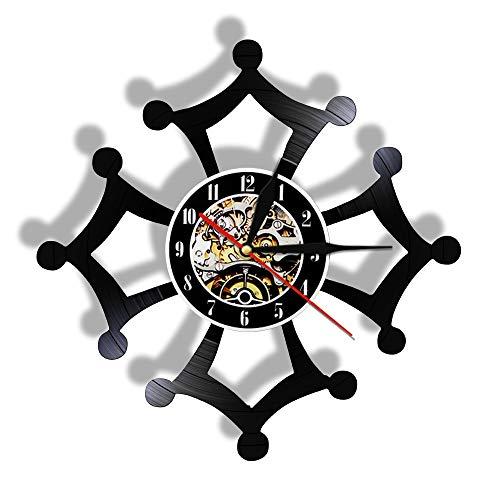 Enofvd Reloj de Pared con Registro de Vinilo artístico, símbolo de Cruz, Movimiento silencioso, Reloj de luz Nocturna Colgante, 12 Pulgadas