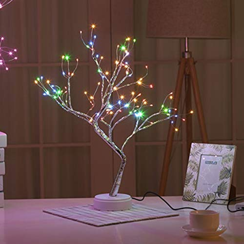 Exc Led USB 3D Luces De Mesa, Luces De Noche De Árbol De Navidad De Alambre De Cobre, Familia, Vacaciones, Dormitorio, Decoración Interior del Bar De Los Niños, Luz De Hadas