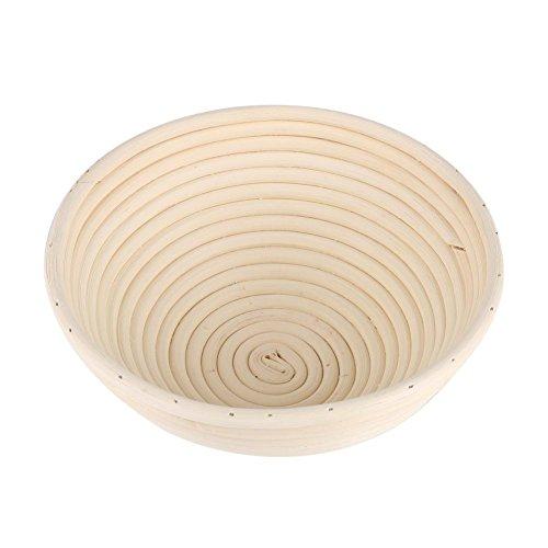 Fdit Cesta de Fermentación Hecha a Mano Cesta de Mimbre Redonda para Fermentar Pan de Molde Natural(20 * 8cm)