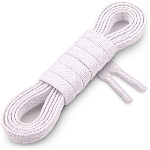 Miscly Flache Elastische Schnürsenkel [3 Paar] für Sneaker, Laufschuhe und Sportschuhe (114cm, Weiß)