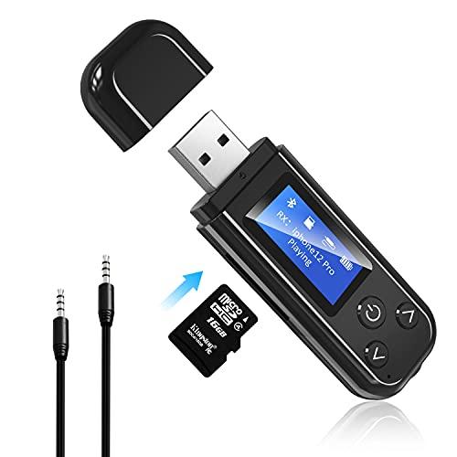 Adaptador USB Bluetooth 5.0,Display Digitale LCD Adaptador Receptor Inalámbrico 2 en 1 para TV / PC / Auriculares / Coches / Proyectores