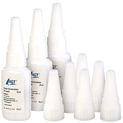 AGT Klebstoff: 3er-Set flüssiger Sekundenkleber mit 6 Extra-Spitzen, je 20 ml (Plastikkleber)