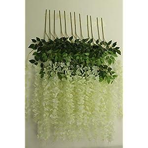 Oncola 12 Pack 3.6 Feet Artificial Flower Fake Wisteria Vine (Milk White, Dense)