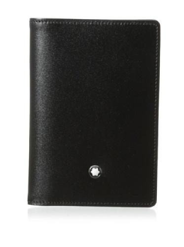 Hecho de negro piel de becerro Forro jacquard con escrito Montblanc Emblema Montblanc con anilla paladiada Bolsillo para tarjetas de visita, 2 bolsillos para tarjetas de crédito, bolsillo adicional