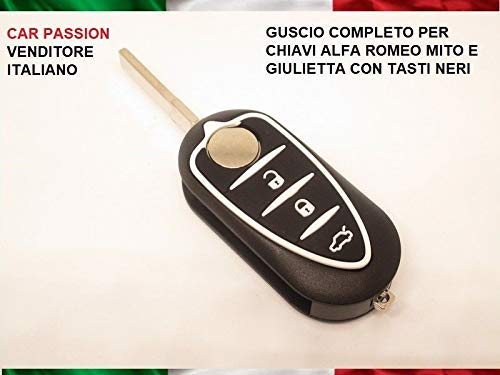 topbest Cover Chiave Guscio Alfa Romeo Mito Giulietta Telecomando 3 Tasti scocca Nero Bianco