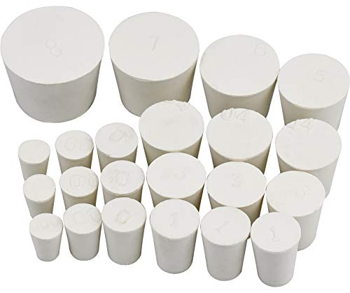 ZHENA 22Pcs Gummistopfen Labor Vollgummi Stopper Wasserdicht, Weißer Rund Laborstecker, 10 Größen(000# -8#)
