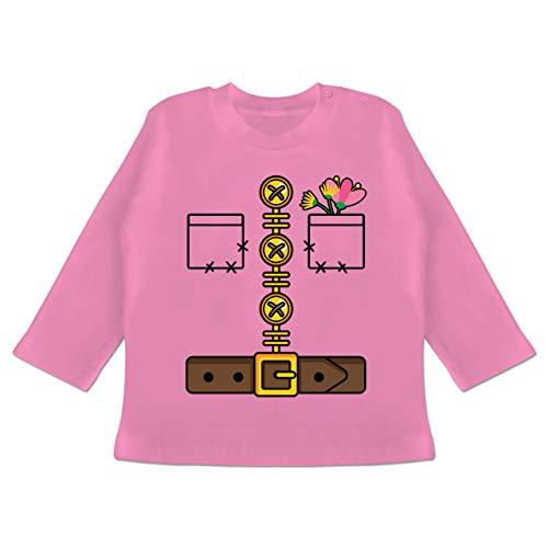 Karneval und Fasching Baby - Zwerg Kostüm - 3/6 Monate - Pink - Kinderkarneval - BZ11 - Baby T-Shirt Langarm