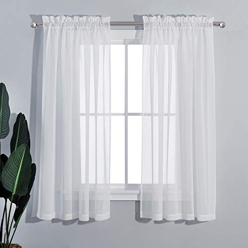 PONY DANCE Small Window Curtains - 55-inch W by 45-inch L, White Small Window Valances Short Voile Tiers Home Decor Elegant Slot Pocket Drapes for Kitchen, 2 PCs