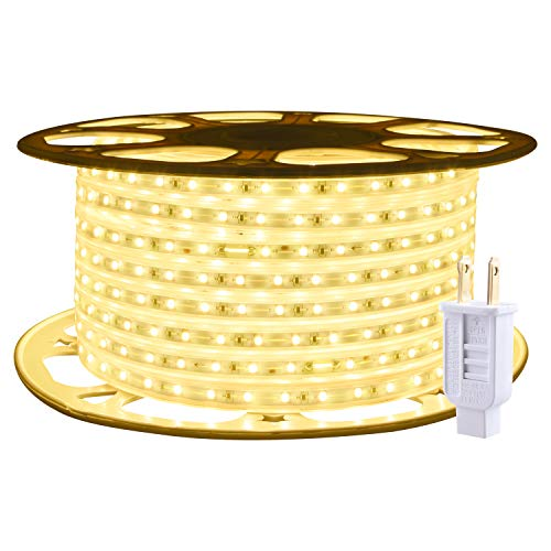 ollrieu Rope Lights Outdoor Waterproof 98.4ft Strip Light Warm White 1800 LEDs 3000K 110V Flexible Connectable Indoor Decorative Plug-in Tape Lighting for Patio Deck Bedroom Kitchen