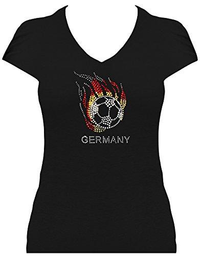 Premium WM Shirt Germany Damen Fussball Deutschland mit Strass statt Trikot WM 2018, T-Shirt, Grösse XL, schwarz