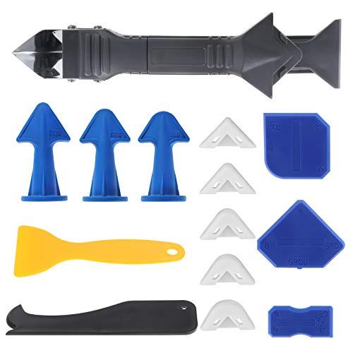 Kit de herramientas para calafatear de silicona, 14 piezas, removedor de sellador, herramienta para juntas, escobilla de goma para juntas, para baño, cocina, piso, esquina, azulejos, fregadero
