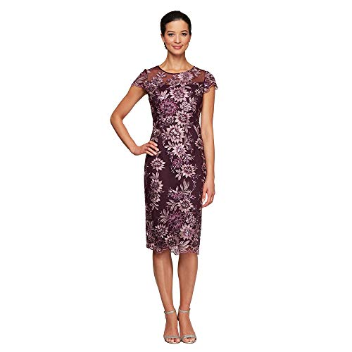 Alex Evenings Women's Petite Short Shift Knee Length Scoop Neck Dress (Petite & Regular), Plum, 6P (Apparel)